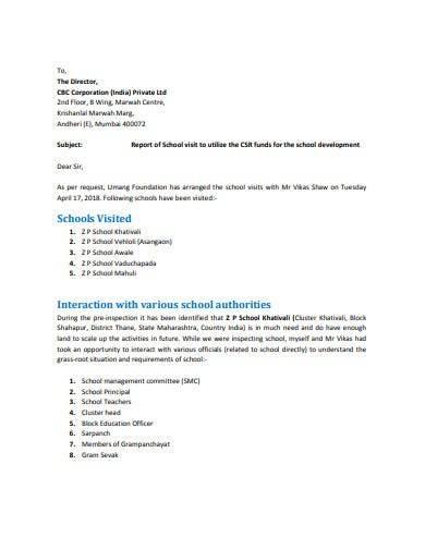 school visit report template1