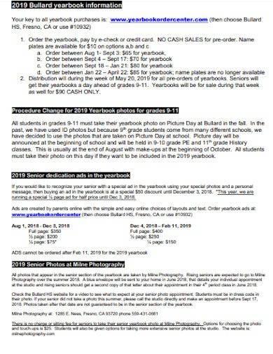 school yearbook information template