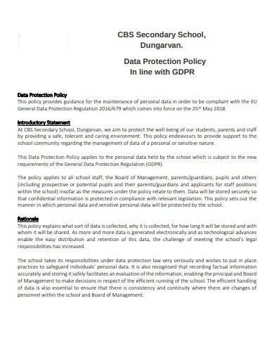 secondary school data protection policy
