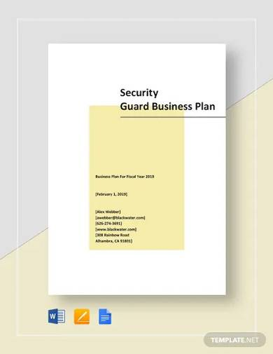 security guard business plan template