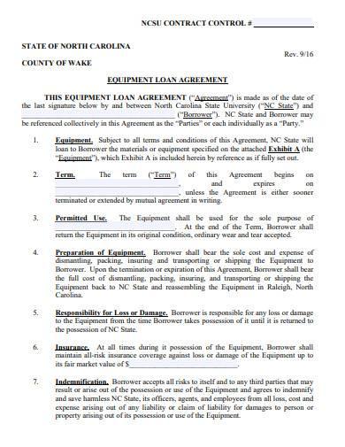 simple equipment loan agreement