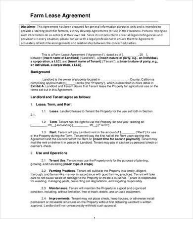 simple farm lease agreement template