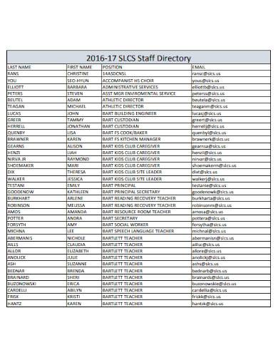 simple staff directory format