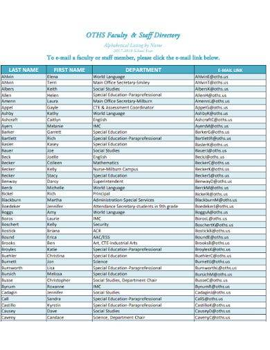 simple staff and faculty directory