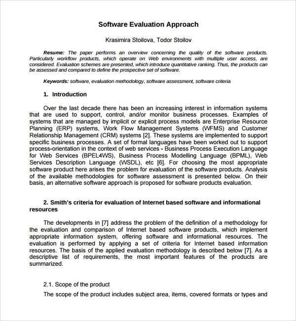 software assessment template pdf