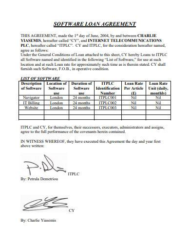 software loan agreement sample