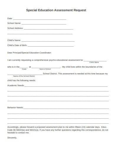 special education assessment request form