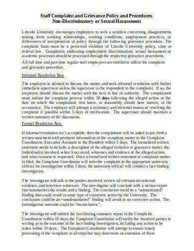 staff complaint and grievance policy