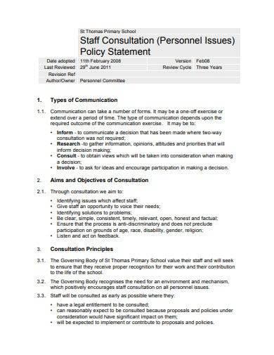 staff consultation policy statement