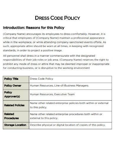 standard dress code policy