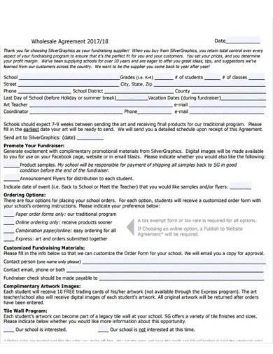 standard wholesale agreement