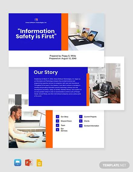 startup software company profile template