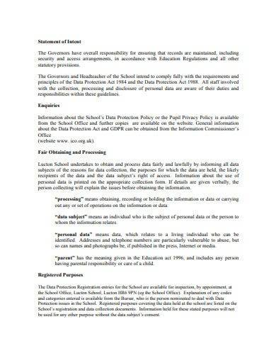 statement of school data protection policy