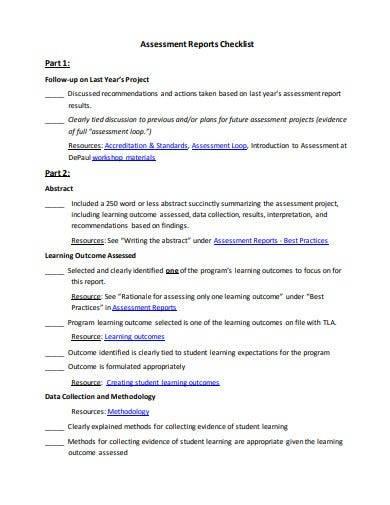 student assessment report checklist