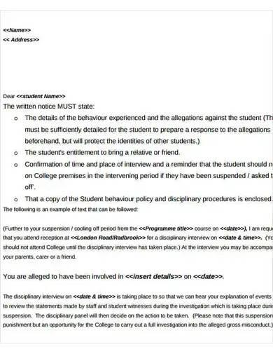 student behavior warning letter