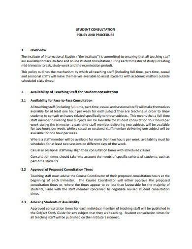 student consultation policy and procedure