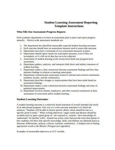 student learning assessment reporting