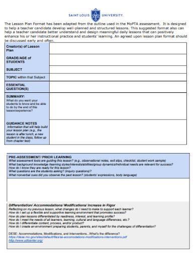 student lesson plan format