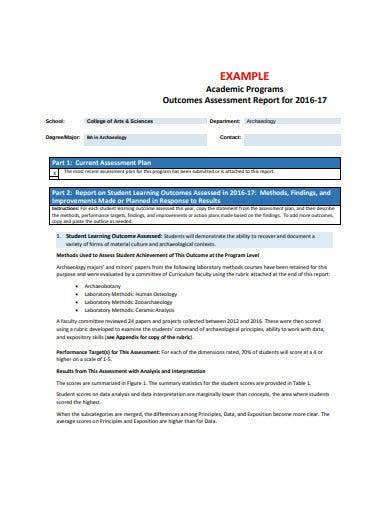 student outcomes assessment report
