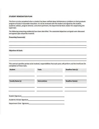 student remediation plan template