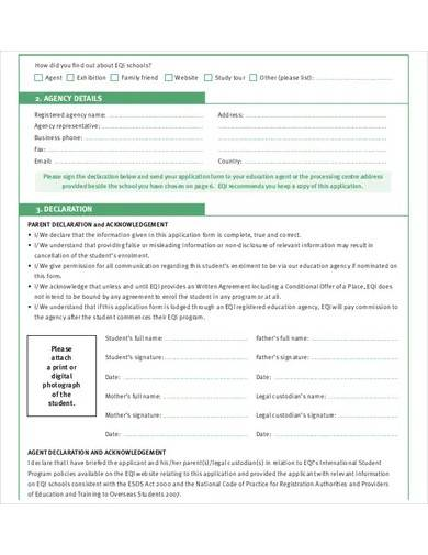 student school application form template