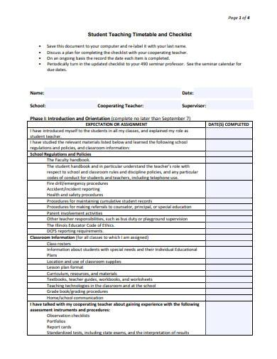 student teaching timetable and checklist