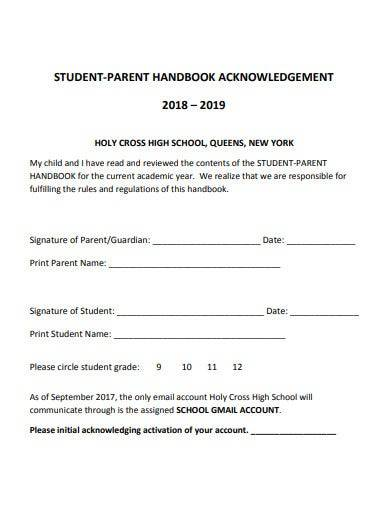 student and parent handbook acknowledgement