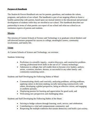 student and parent handbook template