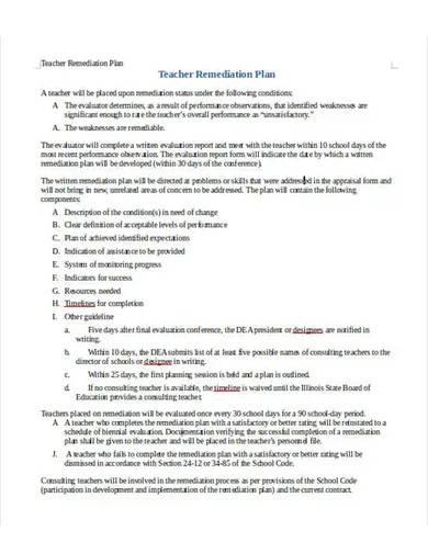 teacher remediation plan template
