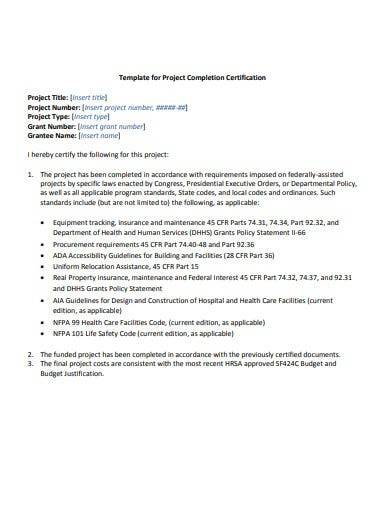 template for project completion certificate