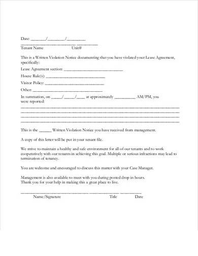 tenant lease agreement violation warning letter