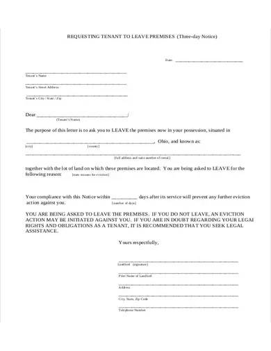 three day notice eviction notice form