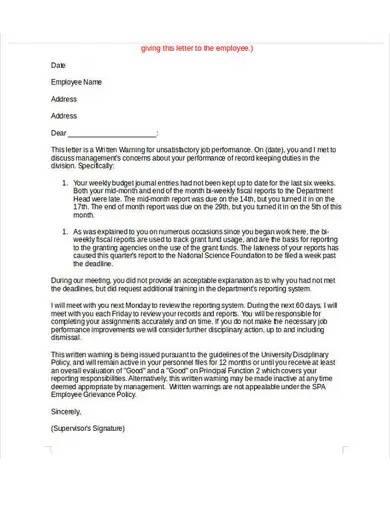 unacceptable behavior warning letter