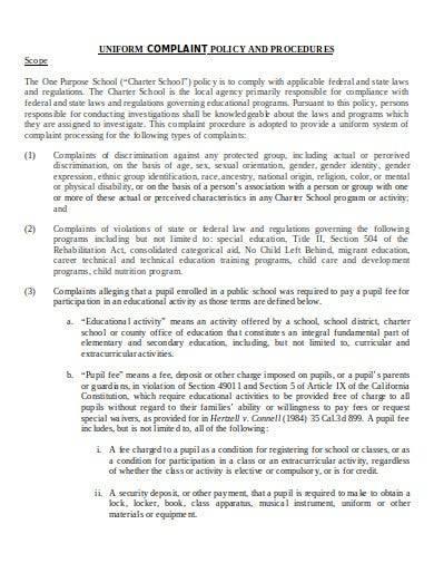 uniform complaint policy and procedures