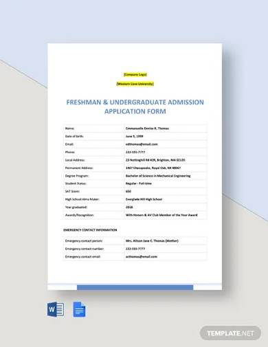 university application form template