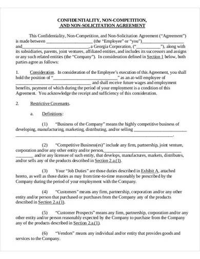 vendor non compete non solicitation agreement