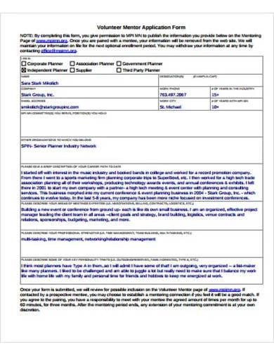 volunteer mentor application form