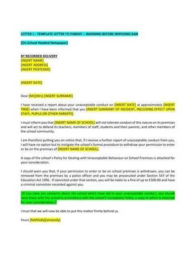 warning letter sample to parent