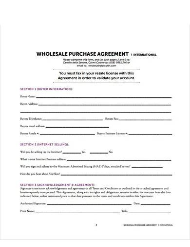 wholesale purchase agreement