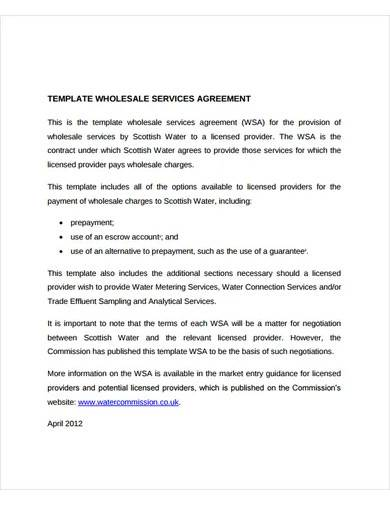 wholesale services agreement template