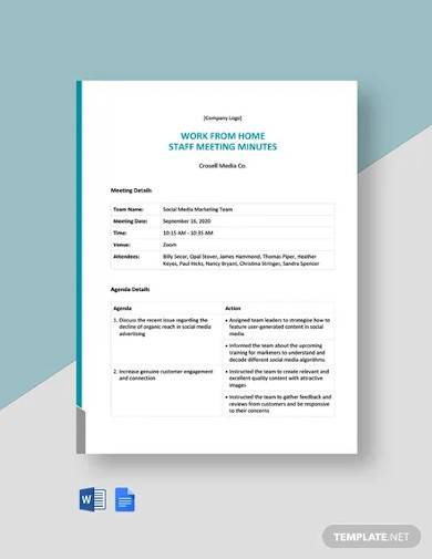 work from home staff meeting minutes template