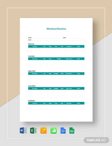 workout routine template