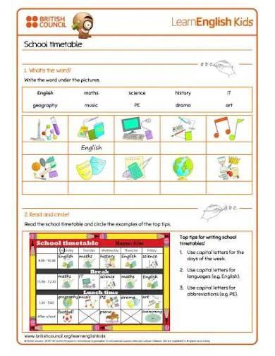 writing practice school timetable