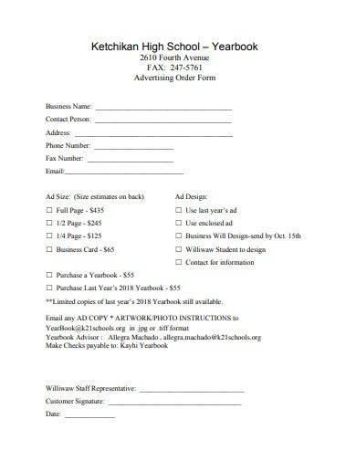 yearbook advertising order form