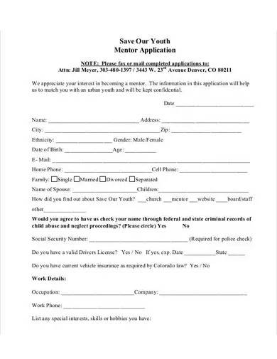 youth mentor application template