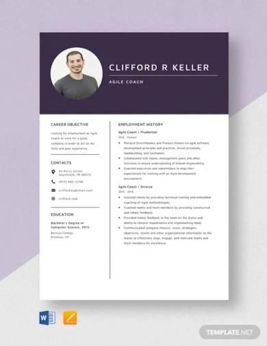 agile coach resume template