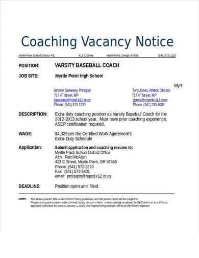baseball coach resume template1