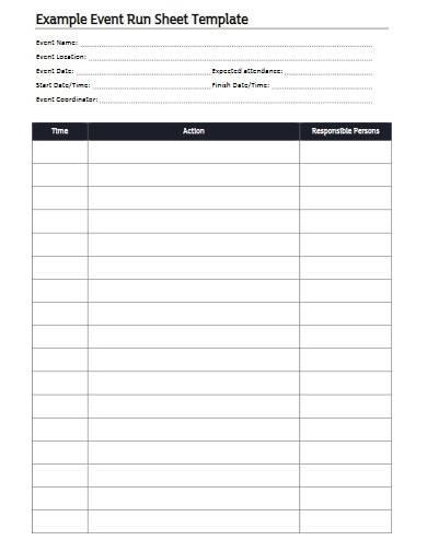 basic event run sheet template
