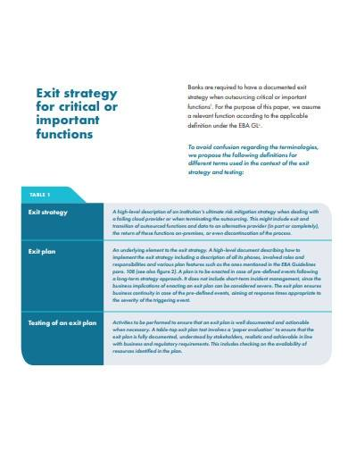 basic exit strategy template