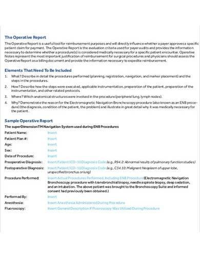 basic medical operative report